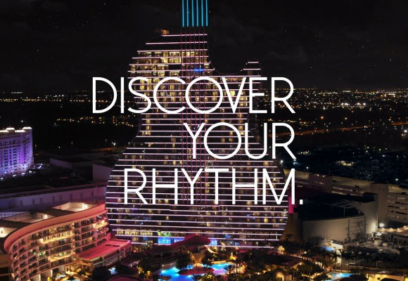 the Hard Rock Guitar Hotel in Hollywood, FL with words Discover your Rhythm